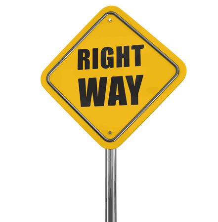 guidepost: Right way road sign. Image with clipping path