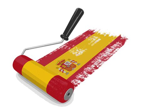 Paint roller with Spanish flag. Image with clipping path