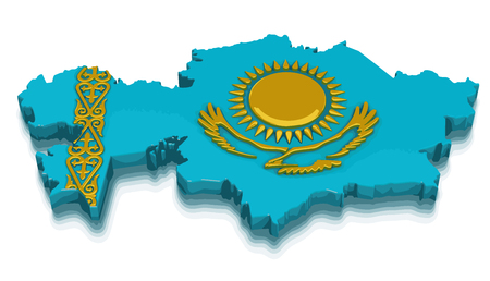 kazakhstan: Map of Kazakhstan. 3d render Image. Image with clipping path