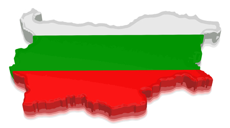 Map of Bulgaria. 3d render Image. Image with clipping path