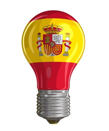 spanish flag: Light bulb with Spanish flag. Image with clipping path Illustration