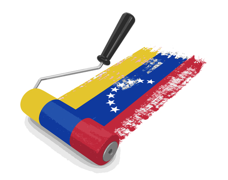 worktool: Paint roller with Flag of Venezuela. Image with clipping path