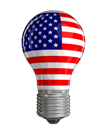Light bulb with USA flag. Image with clipping path