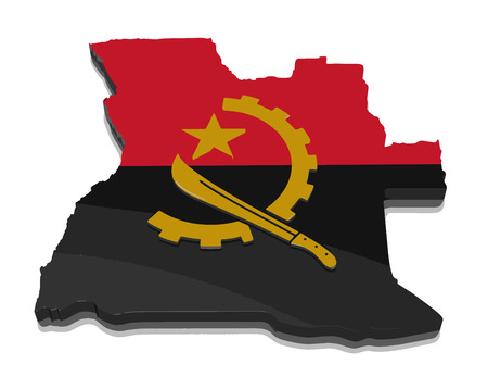 Map of Angola. 3d render Image. Image with clipping path