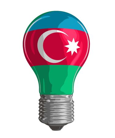Light bulb with Azerbaijan flag. Image with clipping path Vetores