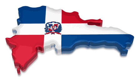 Map of Dominican Republic. 3d render Image. Image with clipping path