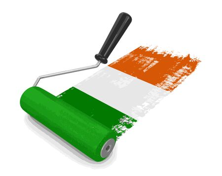 Paint roller with Irish flag. Image with clipping path