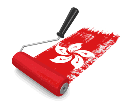 Paint roller with flag of Hong Kong. Image with clipping path Illustration