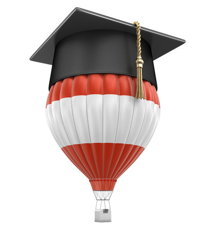 Hot Air Balloon with Australian Flag and Graduation cap. Stock Photo