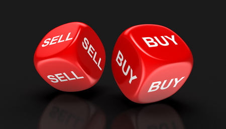sell: Dices with sell, buy. Stock Photo