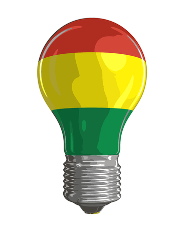 Light bulb with Bolivian flag. Image with clipping path