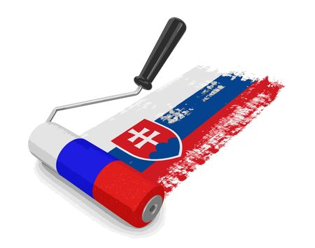 Paint roller with Slovak flag. Image with clipping path
