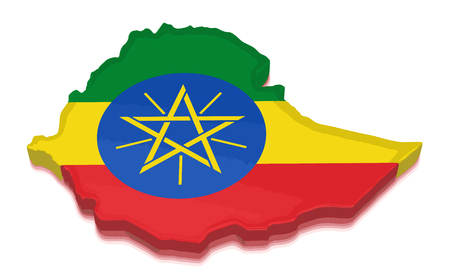 national flag ethiopia: Map of Ethiopia. 3d render Image. Image with clipping path Illustration