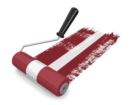 Paint roller with Latvian flag. Image with clipping path Illustration