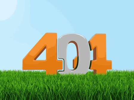 green issue: Text 404 on grass. Image with clipping path