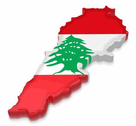 Mapa del Líbano Procesamiento 3D Imagen. Imagen con trazado de recorte