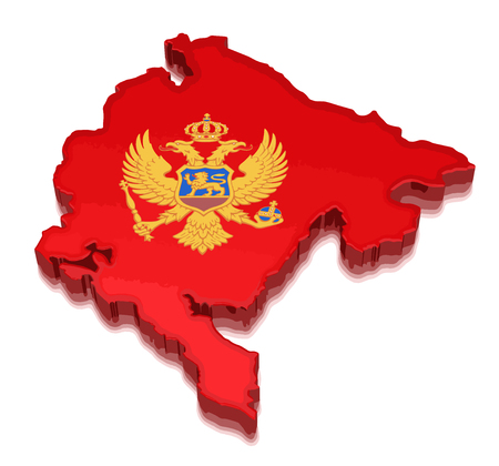 Map of Montenegro. 3d render Image. Image with clipping path Illustration