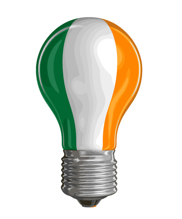 Light bulb with Irish flag. Image with clipping path