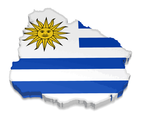 Map of Uruguay. 3d render Image. Image with clipping path