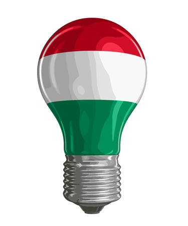 Light bulb with Hungarian flag. Image with clipping path Vetores