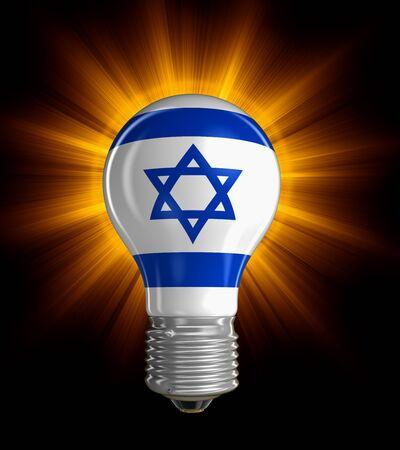 Light bulb with Israeli flag.