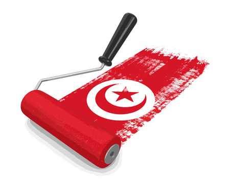 Paint roller with Tunisian flag. Illustration