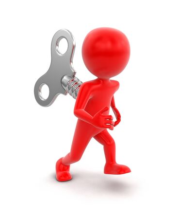 Man and winding key. Image with clipping path