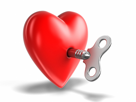 Heart and Windind key. Image with clipping path