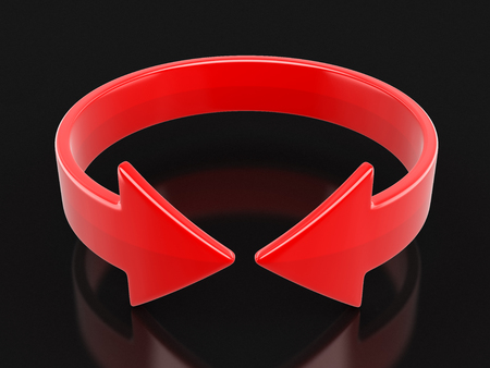 Arrow sign, horizontal rotation. Image with clipping path