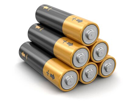 accumulator: Batteries. Image with clipping path Stock Photo