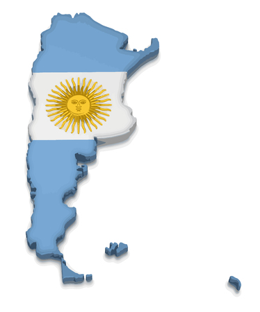 Map of Argentina. 3d render Image. Image with clipping path