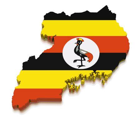 Kaart van Oeganda. 3D render afbeelding. Afbeelding met uitknippad Vector Illustratie