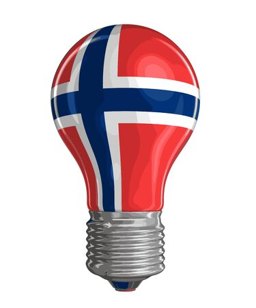 Light bulb with Norwegian flag. Image with clipping path Vetores