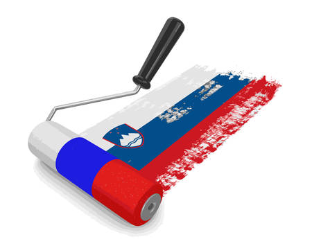 Paint roller with Slovenian flag. Image with clipping path Illustration