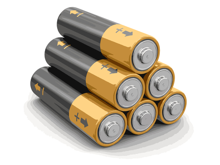 Batteries image with clipping path. Illustration