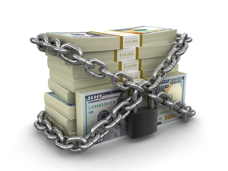 Pile of Dollars and lock. Image with clipping path
