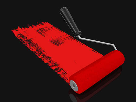 Paint roller image with clipping path.