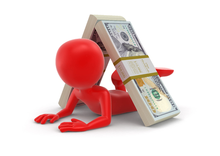 Pile of Dollars and man image with clipping path.