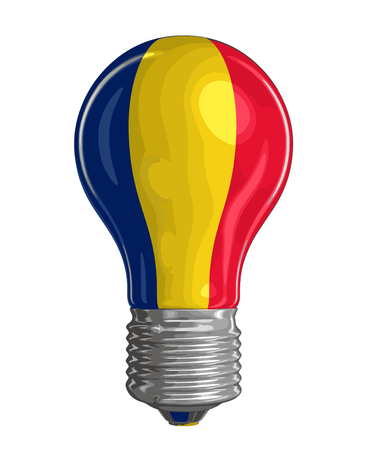 Light bulb with romanian flag image with clipping path. Иллюстрация