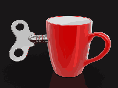 Cup and Winding key. Image with clipping path Illustration
