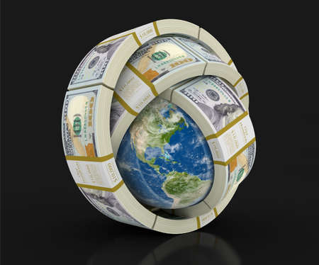 americas: Pile of Dollars and globe. Image with clipping path Stock Photo