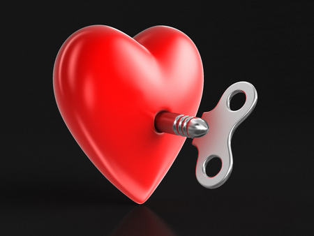 Heart and Winding key. Image with clipping path