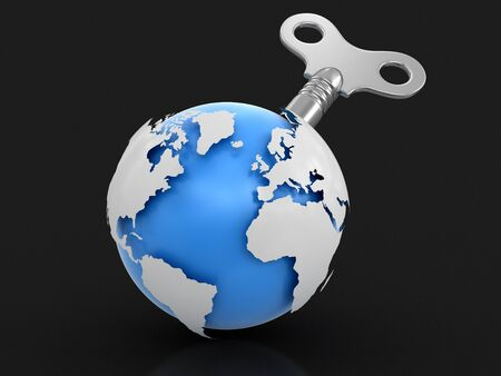 3d Globe with winding key. Image with clipping path