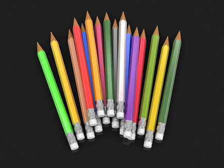 moving in: Set of color pencils. Image with clipping path.