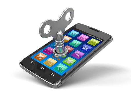 Touchscreen smartphone with winding key. Image with clipping path.