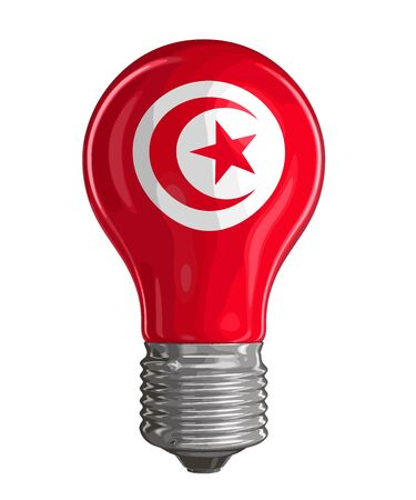 Light bulb with Tunisian flag. Image with clipping path