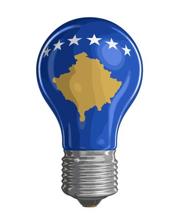 Light bulb with Republic of Kosovo flag. Image with clipping path