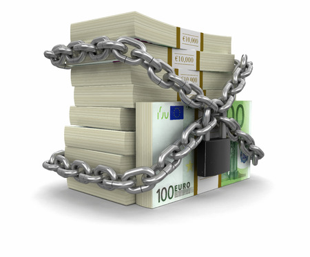 Pile of Euro and lock. Image with clipping path Illustration