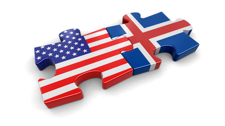 USA and Iceland puzzle from flags. Image with clipping path
