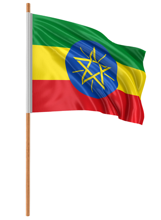 3D Ethiopia flag with fabric surface texture. White background.